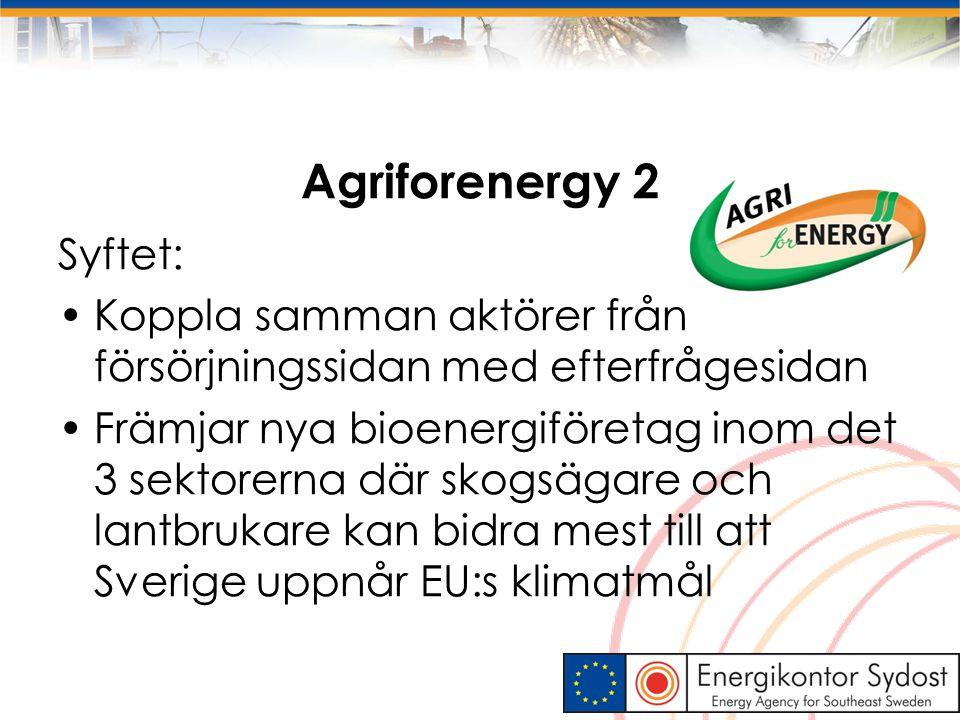Agriforenergy 2 Syftet: Koppla samman aktörer från försörjningssidan med efterfrågesidan Främjar nya bioenergiföretag inom det 3 sektorerna där skogsä