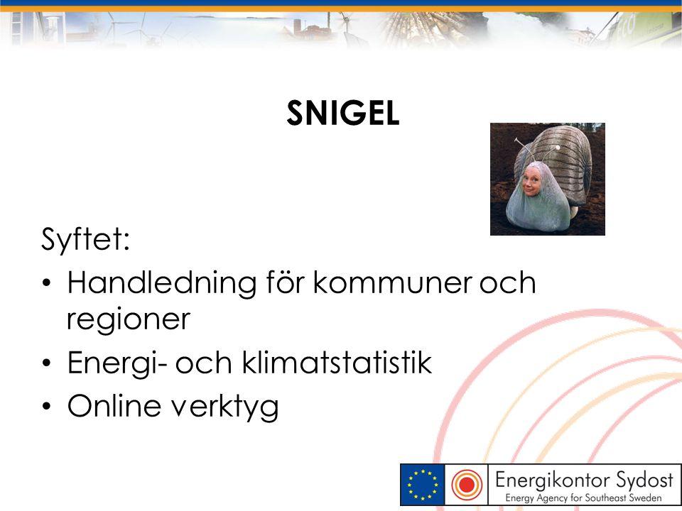 SNIGEL Syftet: Handledning för kommuner och regioner Energi- och klimatstatistik Online verktyg