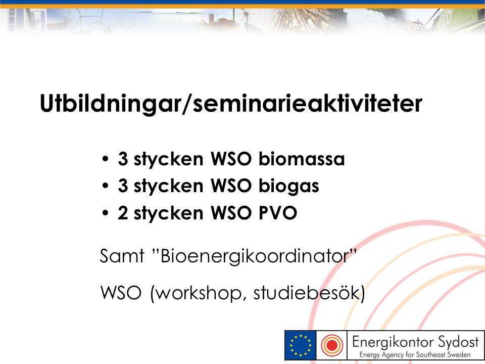"""Utbildningar/seminarieaktiviteter 3 stycken WSO biomassa 3 stycken WSO biogas 2 stycken WSO PVO Samt """"Bioenergikoordinator"""" WSO (workshop, studiebesök"""