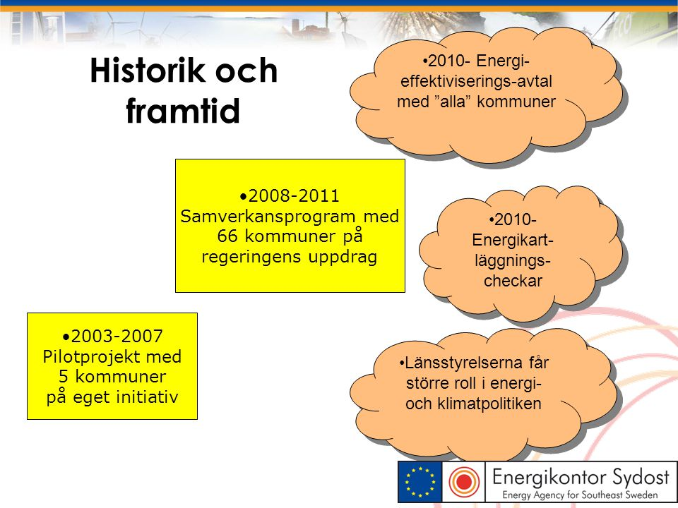 8 Energieffektiviseringsavtal (tidigare Frivilliga avtal ) Mål och handlingsplan för perioden 2010-2014 Utgångspunkt i EU:s energitjänstedirektiv  mycket fokus på energikrav vid offentlig upphandling.