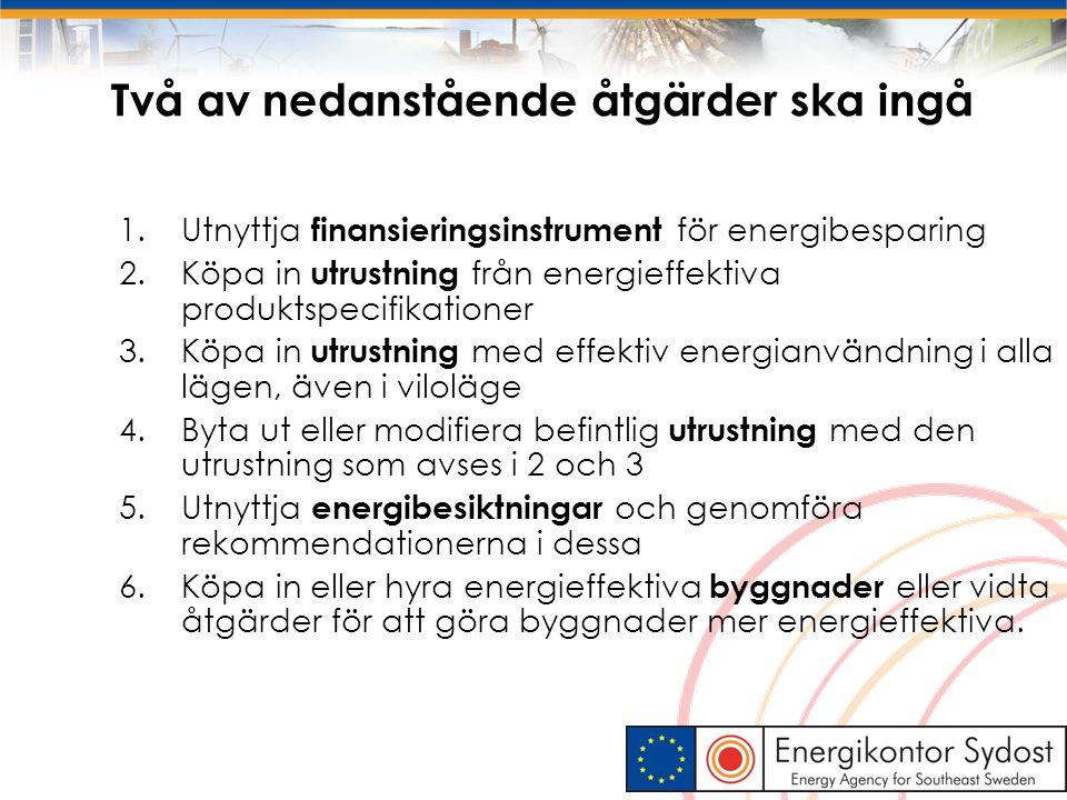 9 Två av nedanstående åtgärder ska ingå 1.Utnyttja finansieringsinstrument för energibesparing 2.Köpa in utrustning från energieffektiva produktspecif