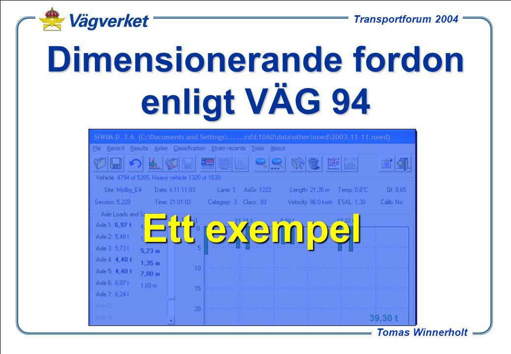 25 Tomas Winnerholt Transportforum 2004 Dimensionerande fordon enligt VÄG 94 Ett exempel