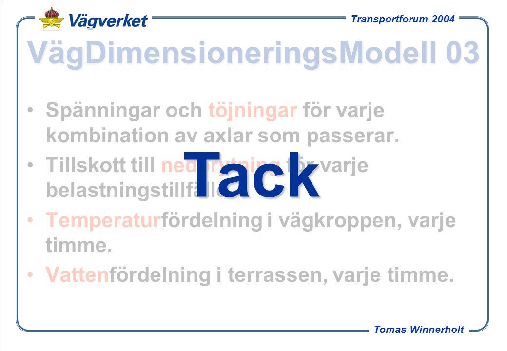 28 Tomas Winnerholt Transportforum 2004 VägDimensioneringsModell 03 Spänningar och töjningar för varje kombination av axlar som passerar.