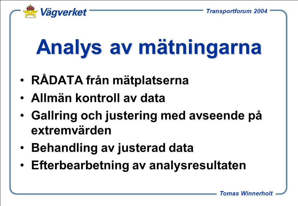 3 Tomas Winnerholt Transportforum 2004 Analys av mätningarna RÅDATA från mätplatserna Allmän kontroll av data Gallring och justering med avseende på extremvärden Behandling av justerad data Efterbearbetning av analysresultaten