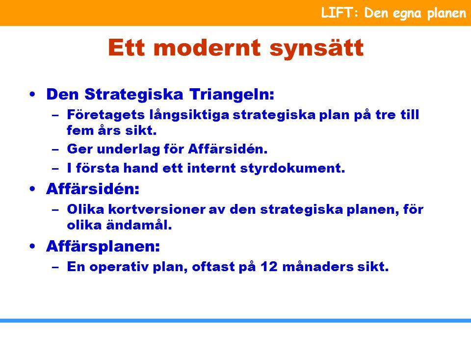 LIFT: Den egna planen Den egna planen Kärnkompetens Plan för din egen utveckling som ledare Styrsystem Strategier Strategiska Mål Omvärld Värderingar Vision