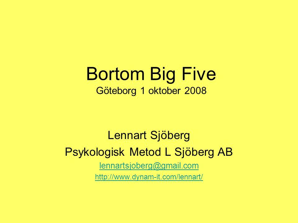 Bortom Big Five Göteborg 1 oktober 2008 Lennart Sjöberg Psykologisk Metod L Sjöberg AB lennartsjoberg@gmail.com http://www.dynam-it.com/lennart/