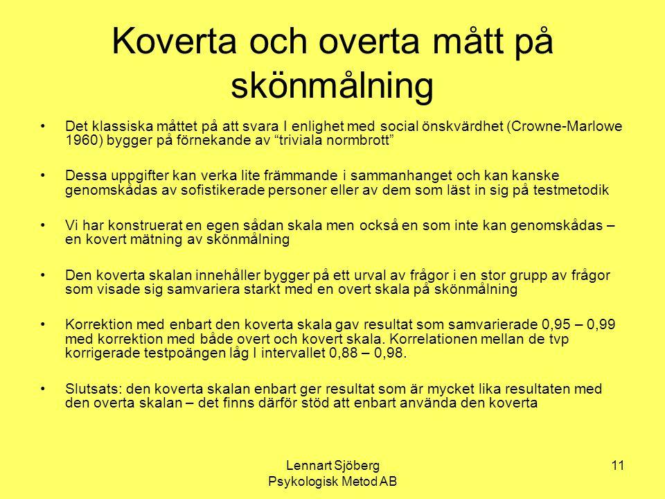 Lennart Sjöberg Psykologisk Metod AB 11 Koverta och overta mått på skönmålning Det klassiska måttet på att svara I enlighet med social önskvärdhet (Cr