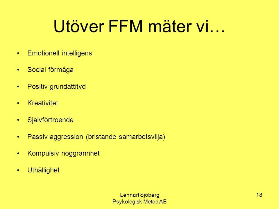 Lennart Sjöberg Psykologisk Metod AB 18 Utöver FFM mäter vi… Emotionell intelligens Social förmåga Positiv grundattityd Kreativitet Självförtroende Pa