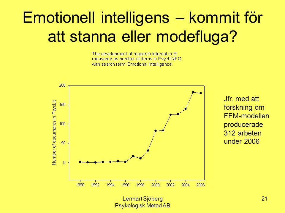 Lennart Sjöberg Psykologisk Metod AB 21 Emotionell intelligens – kommit för att stanna eller modefluga? Jfr. med att forskning om FFM-modellen produce