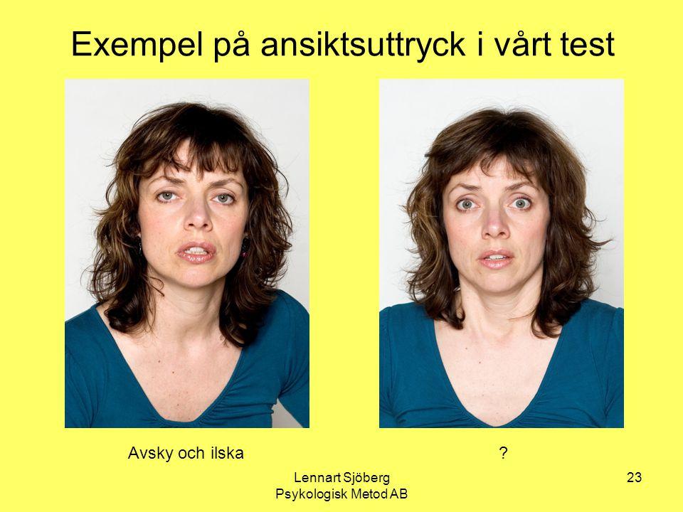 Lennart Sjöberg Psykologisk Metod AB 23 Exempel på ansiktsuttryck i vårt test Avsky och ilska?