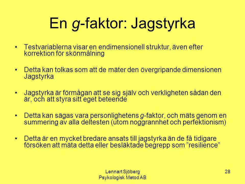 Lennart Sjöberg Psykologisk Metod AB 28 En g-faktor: Jagstyrka Testvariablerna visar en endimensionell struktur, även efter korrektion för skönmålning