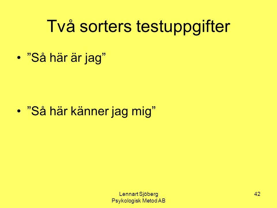 """Lennart Sjöberg Psykologisk Metod AB 42 Två sorters testuppgifter """"Så här är jag"""" """"Så här känner jag mig"""""""