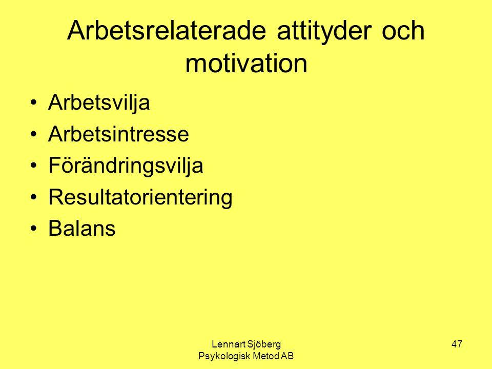 Lennart Sjöberg Psykologisk Metod AB 47 Arbetsrelaterade attityder och motivation Arbetsvilja Arbetsintresse Förändringsvilja Resultatorientering Bala