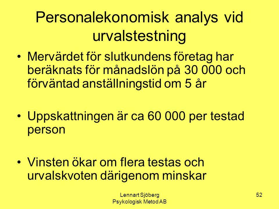 Lennart Sjöberg Psykologisk Metod AB 52 Personalekonomisk analys vid urvalstestning Mervärdet för slutkundens företag har beräknats för månadslön på 3
