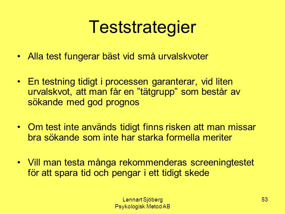 Lennart Sjöberg Psykologisk Metod AB 53 Teststrategier Alla test fungerar bäst vid små urvalskvoter En testning tidigt i processen garanterar, vid lit