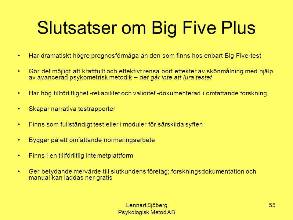 Lennart Sjöberg Psykologisk Metod AB 55 Slutsatser om Big Five Plus Har dramatiskt högre prognosförmåga än den som finns hos enbart Big Five-test Gör