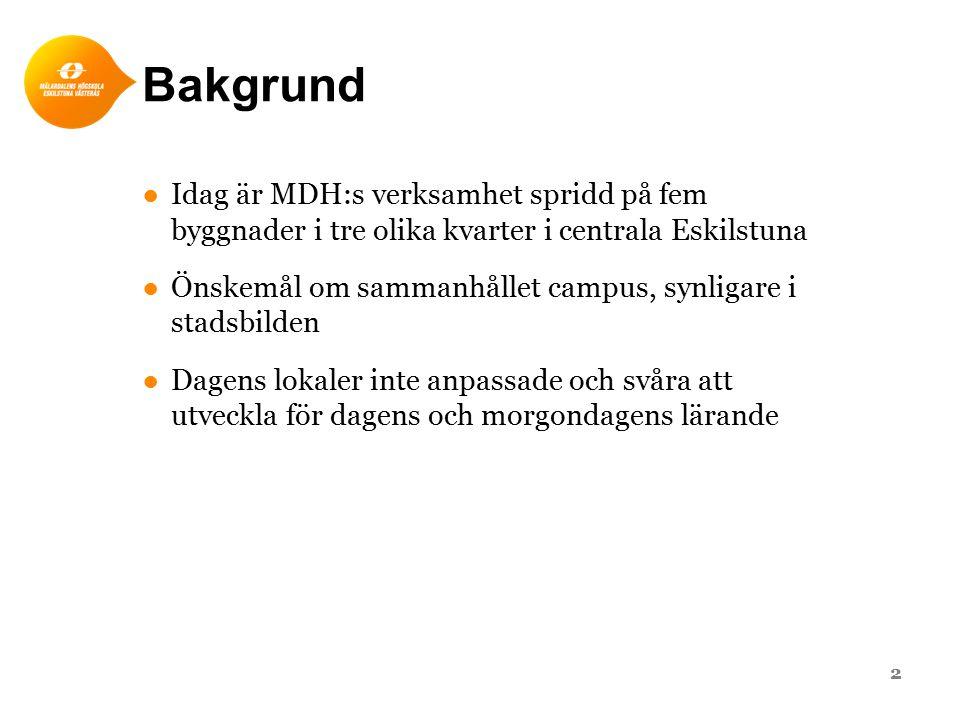 Bakgrund ●Idag är MDH:s verksamhet spridd på fem byggnader i tre olika kvarter i centrala Eskilstuna ●Önskemål om sammanhållet campus, synligare i stadsbilden ●Dagens lokaler inte anpassade och svåra att utveckla för dagens och morgondagens lärande 2
