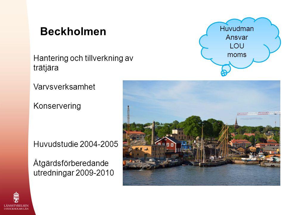 Beckholmen Hantering och tillverkning av trätjära Varvsverksamhet Konservering Huvudstudie 2004-2005 Åtgärdsförberedande utredningar 2009-2010 Huvudman Ansvar LOU moms