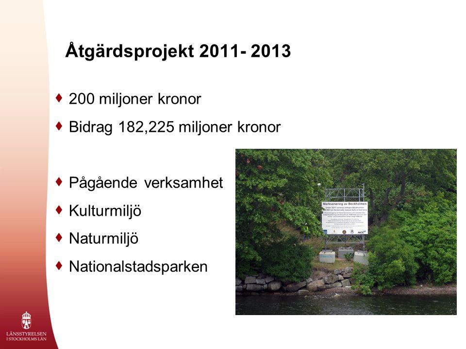 Åtgärdsprojekt 2011- 2013  200 miljoner kronor  Bidrag 182,225 miljoner kronor  Pågående verksamhet  Kulturmiljö  Naturmiljö  Nationalstadsparken