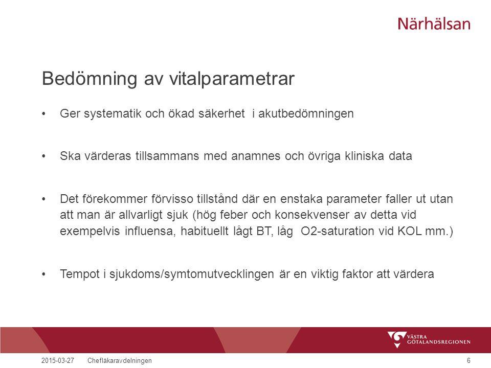2015-03-27Chefläkaravdelningen6 Bedömning av vitalparametrar Ger systematik och ökad säkerhet i akutbedömningen Ska värderas tillsammans med anamnes o