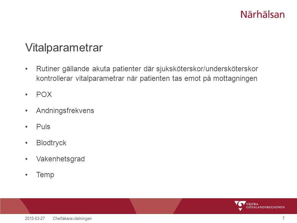 2015-03-27Chefläkaravdelningen7 Vitalparametrar Rutiner gällande akuta patienter där sjuksköterskor/undersköterskor kontrollerar vitalparametrar när patienten tas emot på mottagningen POX Andningsfrekvens Puls Blodtryck Vakenhetsgrad Temp