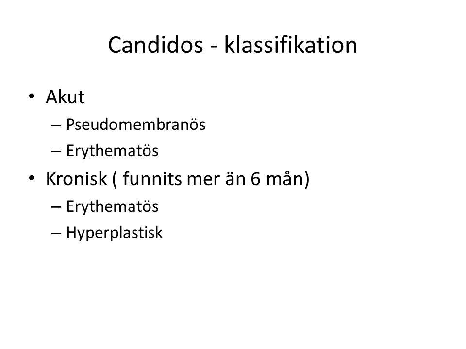 Candidos - klassifikation Akut – Pseudomembranös – Erythematös Kronisk ( funnits mer än 6 mån) – Erythematös – Hyperplastisk