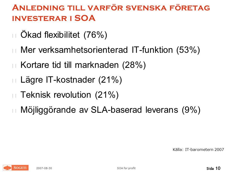 2007-08-30SOA for profit Sida 10 Anledning till varför svenska företag investerar i SOA Ökad flexibilitet (76%) Mer verksamhetsorienterad IT-funktion