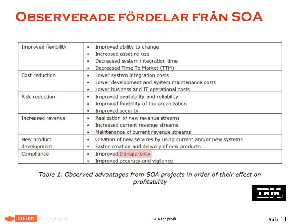 2007-08-30SOA for profit Sida 11 Observerade fördelar från SOA
