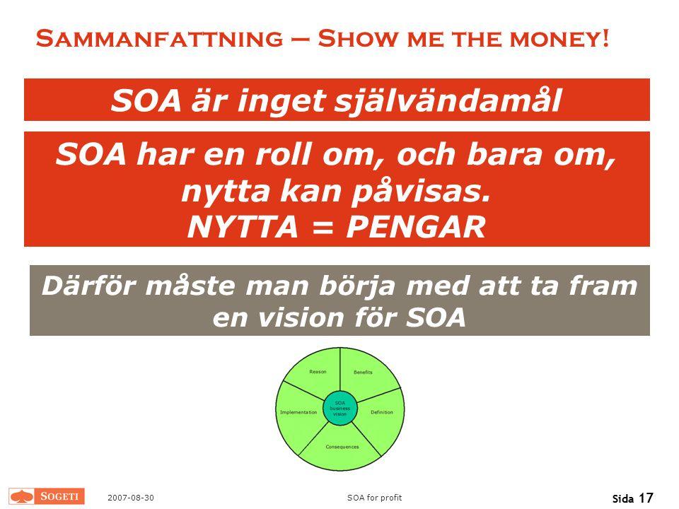 2007-08-30SOA for profit Sida 17 Sammanfattning – Show me the money! SOA är inget självändamål SOA har en roll om, och bara om, nytta kan påvisas. NYT