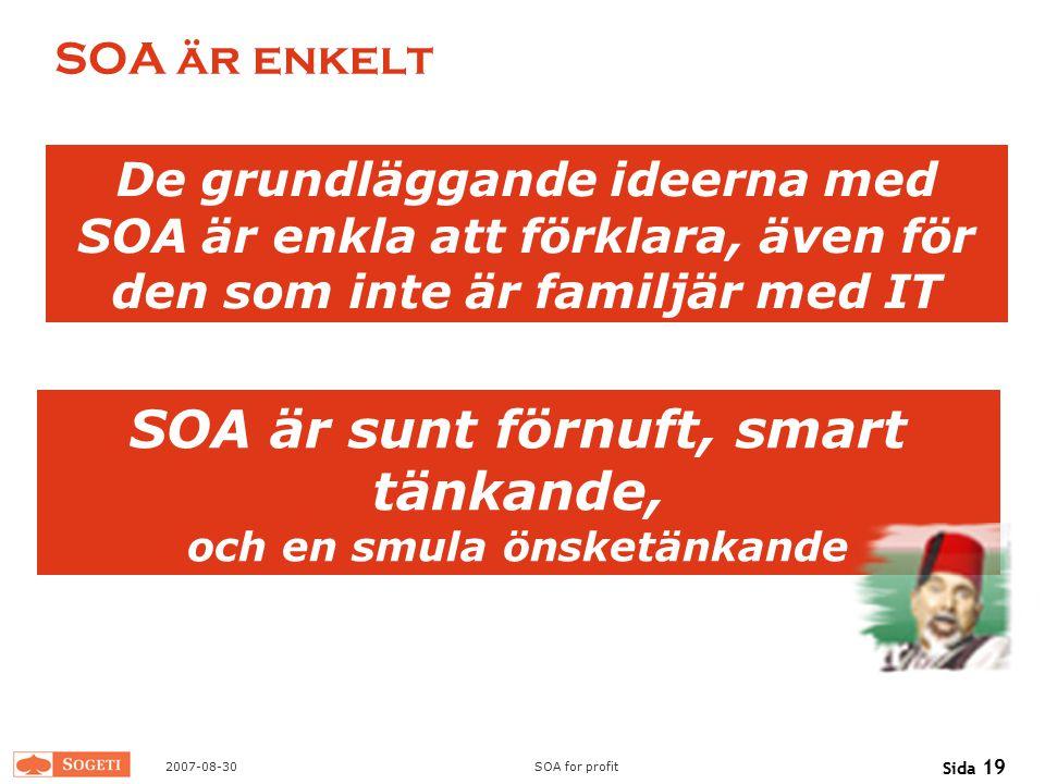 2007-08-30SOA for profit Sida 19 SOA är enkelt SOA är sunt förnuft, smart tänkande, och en smula önsketänkande De grundläggande ideerna med SOA är enk