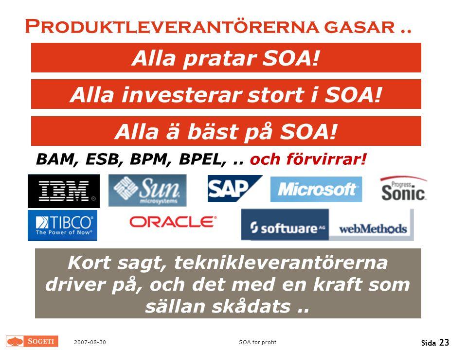 2007-08-30SOA for profit Sida 23 Produktleverantörerna gasar.. Alla investerar stort i SOA! Alla pratar SOA! Alla ä bäst på SOA! Kort sagt, teknikleve