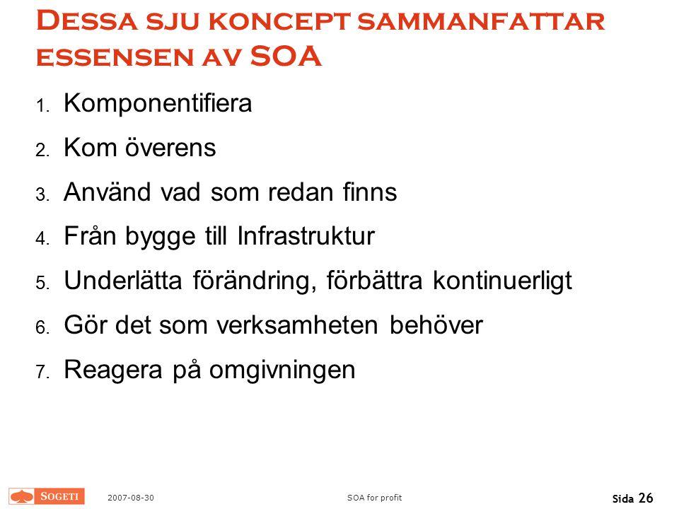2007-08-30SOA for profit Sida 26 Dessa sju koncept sammanfattar essensen av SOA 1. Komponentifiera 2. Kom överens 3. Använd vad som redan finns 4. Frå