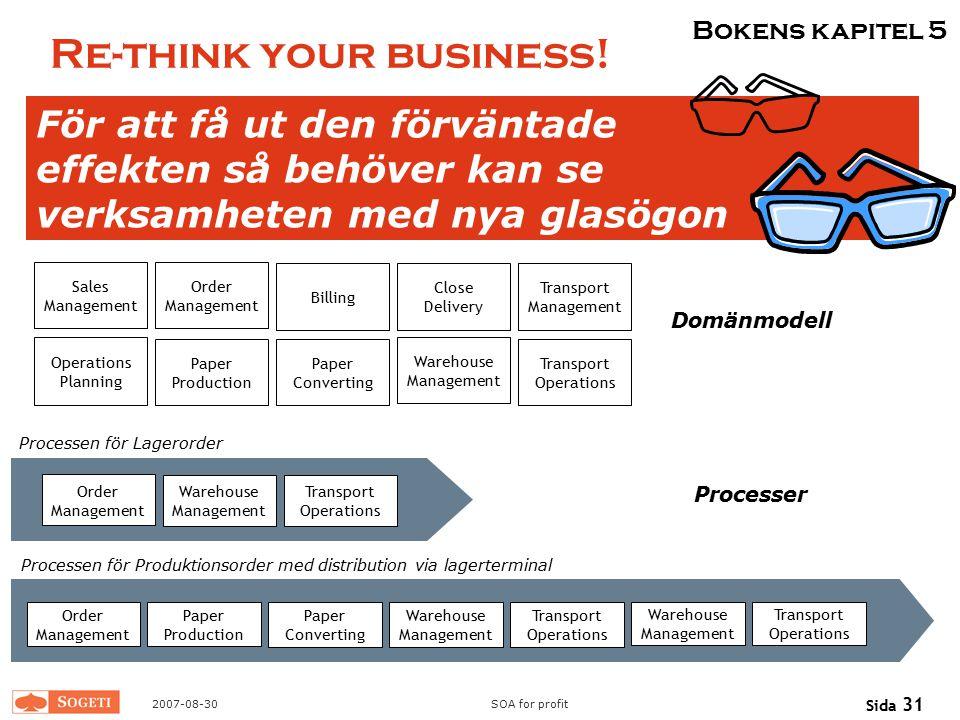 2007-08-30SOA for profit Sida 31 Re-think your business! För att få ut den förväntade effekten så behöver kan se verksamheten med nya glasögon Billing