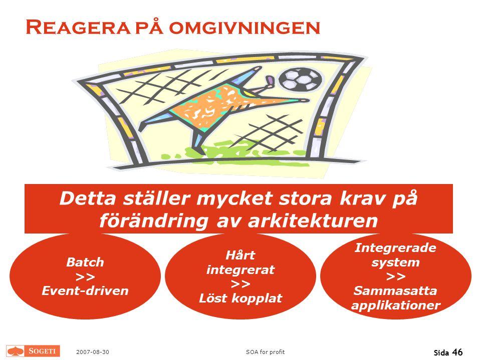 2007-08-30SOA for profit Sida 46 Reagera på omgivningen Detta ställer mycket stora krav på förändring av arkitekturen Batch >> Event-driven Hårt integ