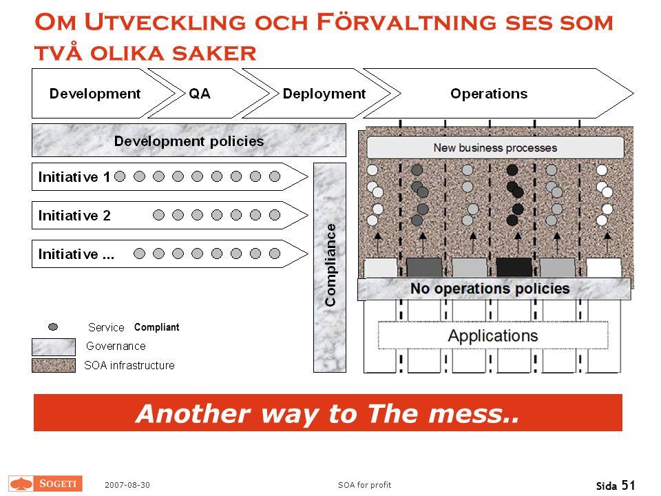 2007-08-30SOA for profit Sida 51 Om Utveckling och Förvaltning ses som två olika saker Another way to The mess.. Compliant