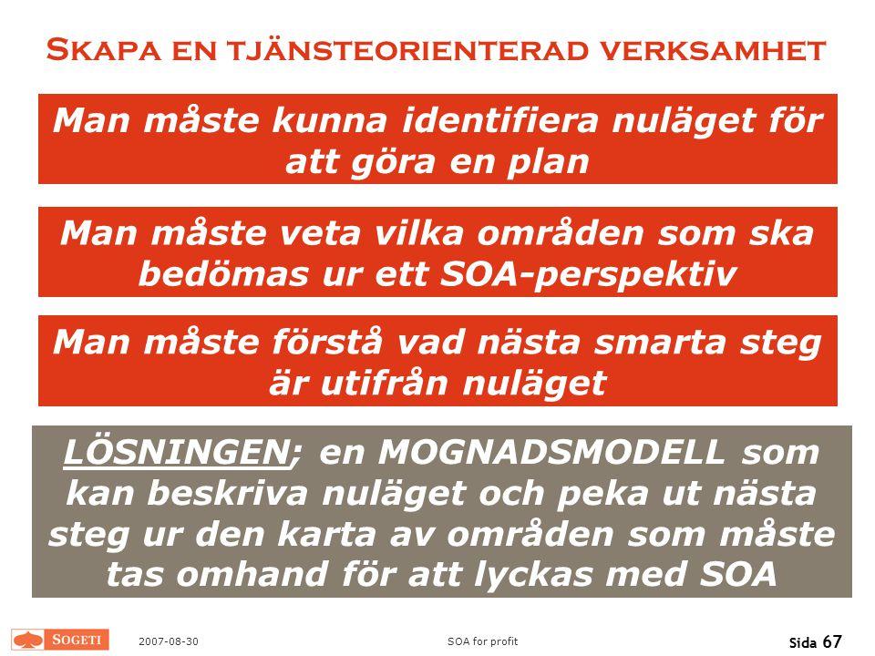 2007-08-30SOA for profit Sida 67 Skapa en tjänsteorienterad verksamhet Man måste kunna identifiera nuläget för att göra en plan LÖSNINGEN; en MOGNADSM