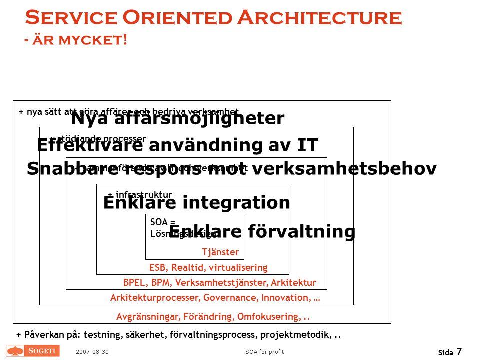 2007-08-30SOA for profit Sida 7 Service Oriented Architecture - är mycket! SOA = Lösningsdesign + infrastruktur + sammanförande av IT och verksamhet +
