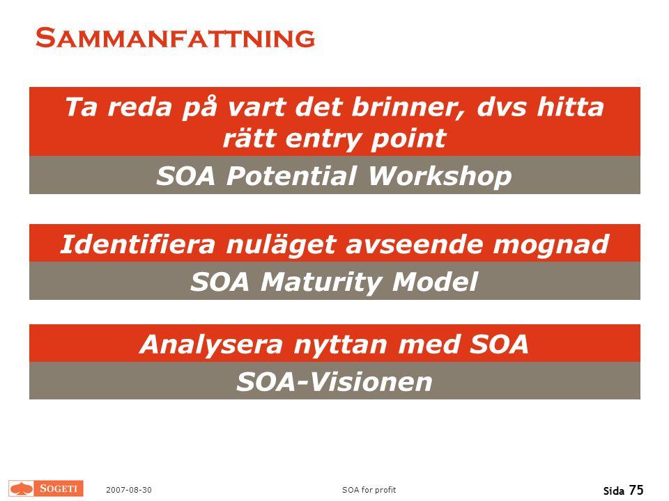 2007-08-30SOA for profit Sida 75 Sammanfattning Ta reda på vart det brinner, dvs hitta rätt entry point SOA Potential Workshop Identifiera nuläget avs