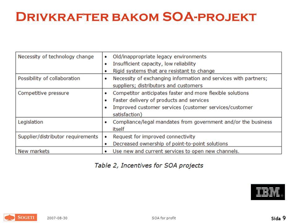 2007-08-30SOA for profit Sida 9 Drivkrafter bakom SOA-projekt