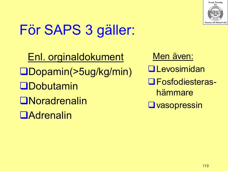 119 För SAPS 3 gäller: Enl. orginaldokument  Dopamin(>5ug/kg/min)  Dobutamin  Noradrenalin  Adrenalin Men även:  Levosimidan  Fosfodiesteras- hä