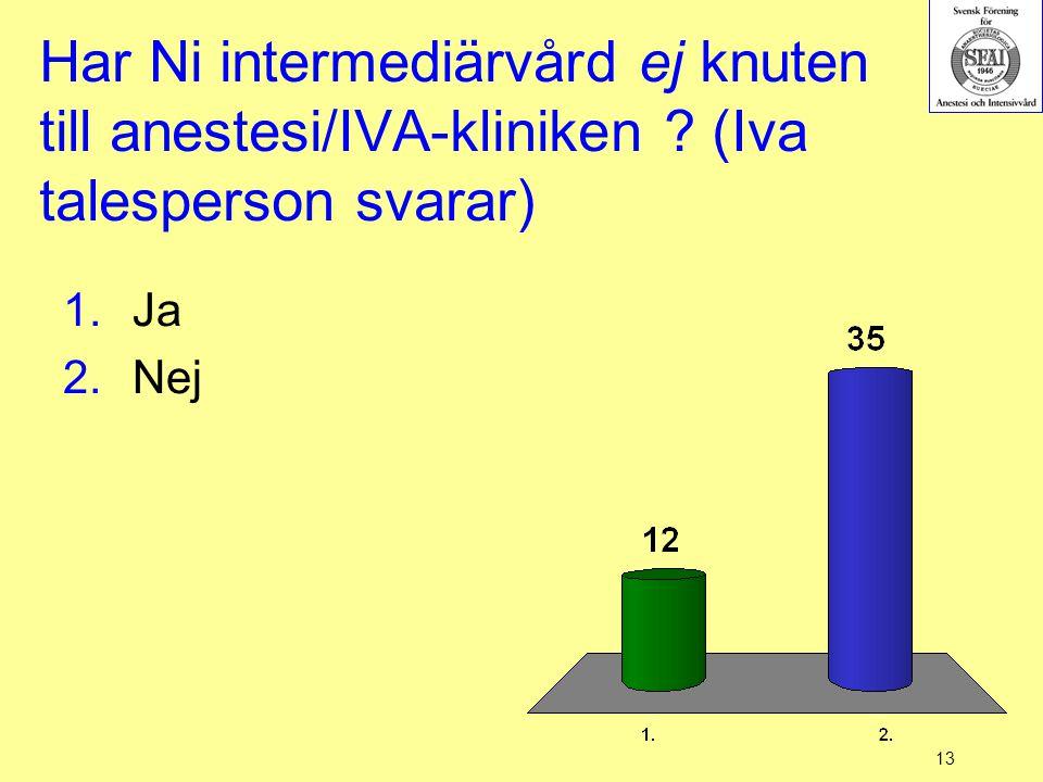 13 Har Ni intermediärvård ej knuten till anestesi/IVA-kliniken ? (Iva talesperson svarar) 1.Ja 2.Nej