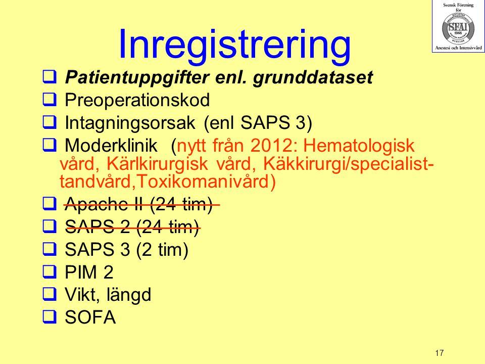 17 Inregistrering  Patientuppgifter enl. grunddataset  Preoperationskod  Intagningsorsak (enl SAPS 3)  Moderklinik (nytt från 2012: Hematologisk v