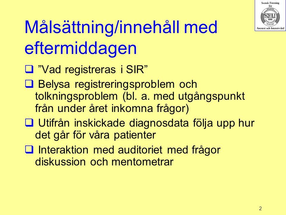"""2 Målsättning/innehåll med eftermiddagen  """"Vad registreras i SIR""""  Belysa registreringsproblem och tolkningsproblem (bl. a. med utgångspunkt från un"""