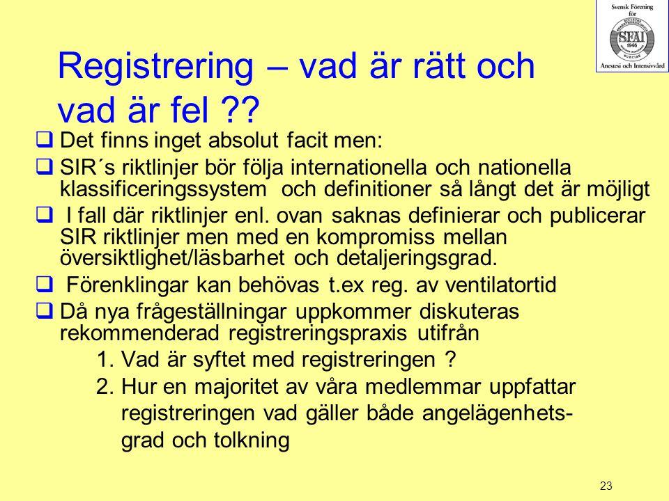 23 Registrering – vad är rätt och vad är fel ??  Det finns inget absolut facit men:  SIR´s riktlinjer bör följa internationella och nationella klass