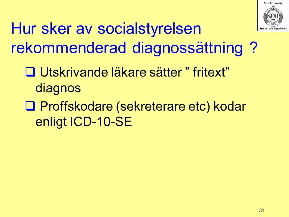 """31 Hur sker av socialstyrelsen rekommenderad diagnossättning ?  Utskrivande läkare sätter """" fritext"""" diagnos  Proffskodare (sekreterare etc) kodar e"""