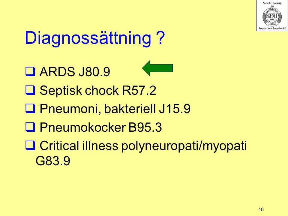49 Diagnossättning ?  ARDS J80.9  Septisk chock R57.2  Pneumoni, bakteriell J15.9  Pneumokocker B95.3  Critical illness polyneuropati/myopati G83