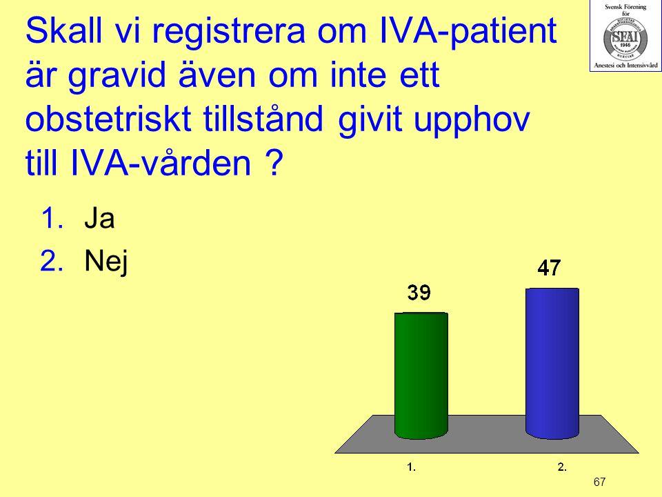 67 Skall vi registrera om IVA-patient är gravid även om inte ett obstetriskt tillstånd givit upphov till IVA-vården ? 1.Ja 2.Nej