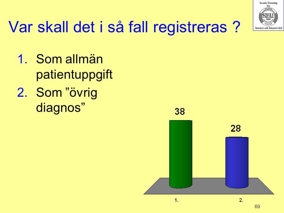 """69 Var skall det i så fall registreras ? 1.Som allmän patientuppgift 2.Som """"övrig diagnos"""""""
