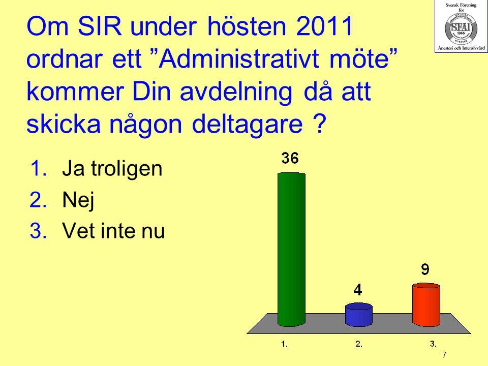"""7 Om SIR under hösten 2011 ordnar ett """"Administrativt möte"""" kommer Din avdelning då att skicka någon deltagare ? 1.Ja troligen 2.Nej 3.Vet inte nu"""