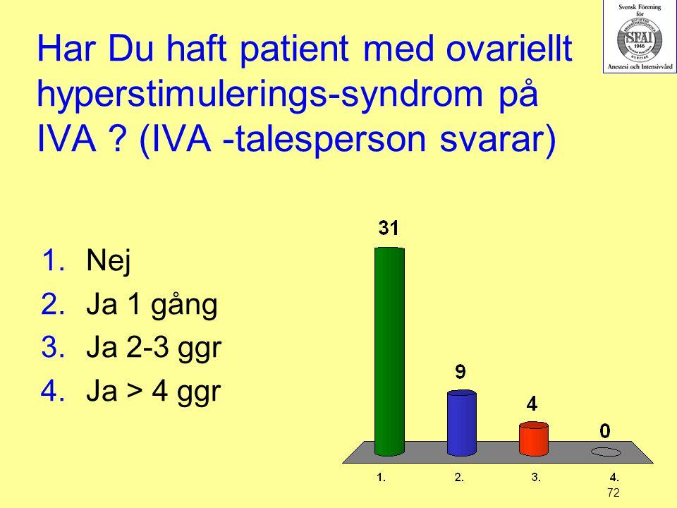 72 Har Du haft patient med ovariellt hyperstimulerings-syndrom på IVA ? (IVA -talesperson svarar) 1.Nej 2.Ja 1 gång 3.Ja 2-3 ggr 4.Ja > 4 ggr